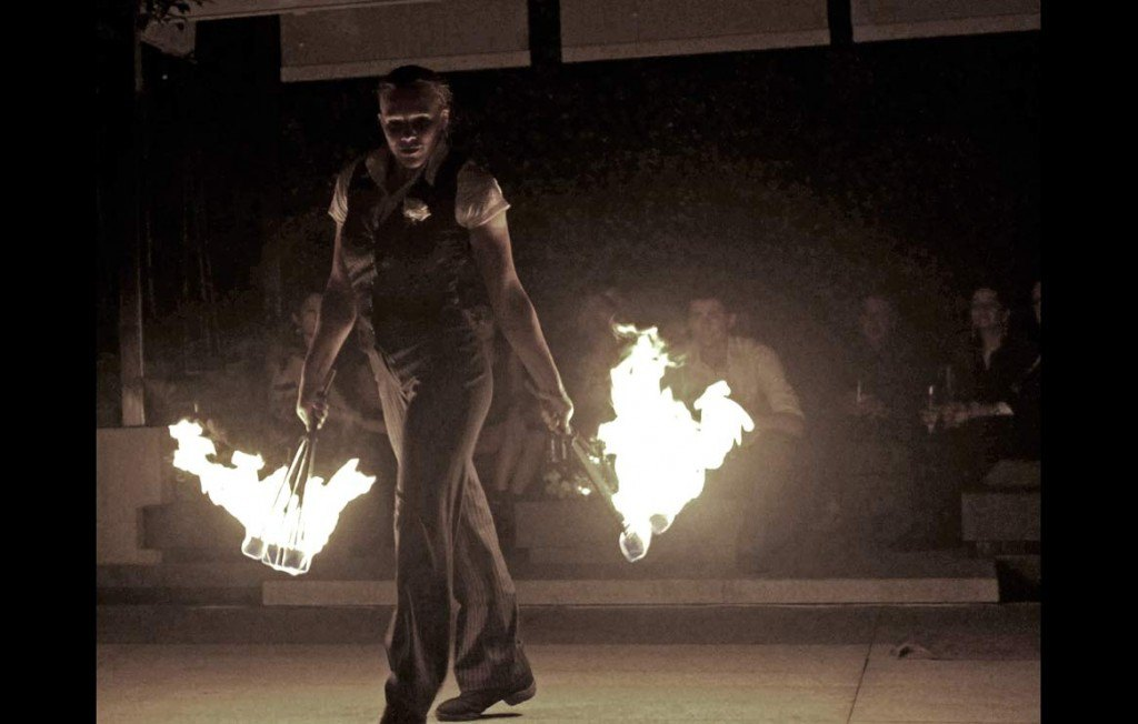 Electroswing fireshows by our circus show corporate entertainment fire group