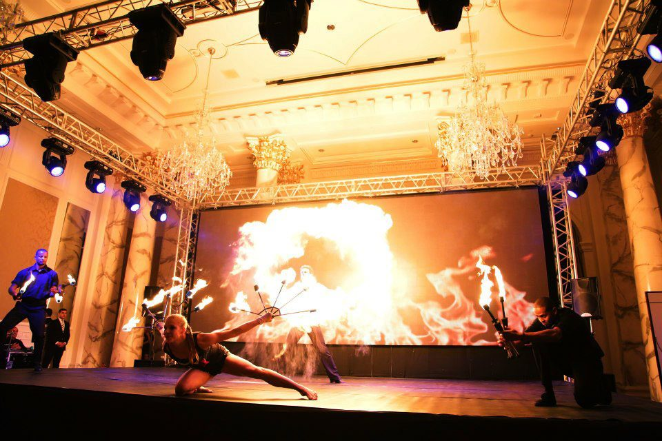 fire breathers Cirque du Soleil artist provide stunning fire entertainment at london fire shows