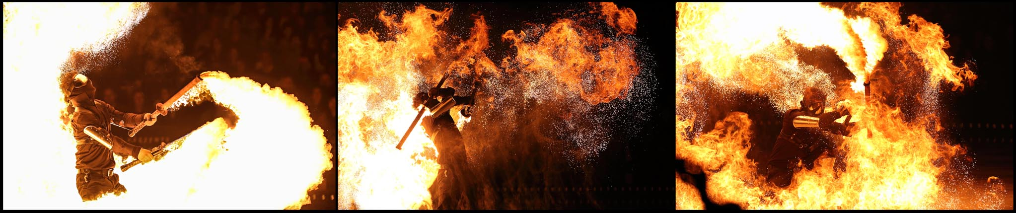 Fire breather swords, spectacular acts, fire shows, cirque acts, flamethrower, fire dancers, fire jugglers, special effects