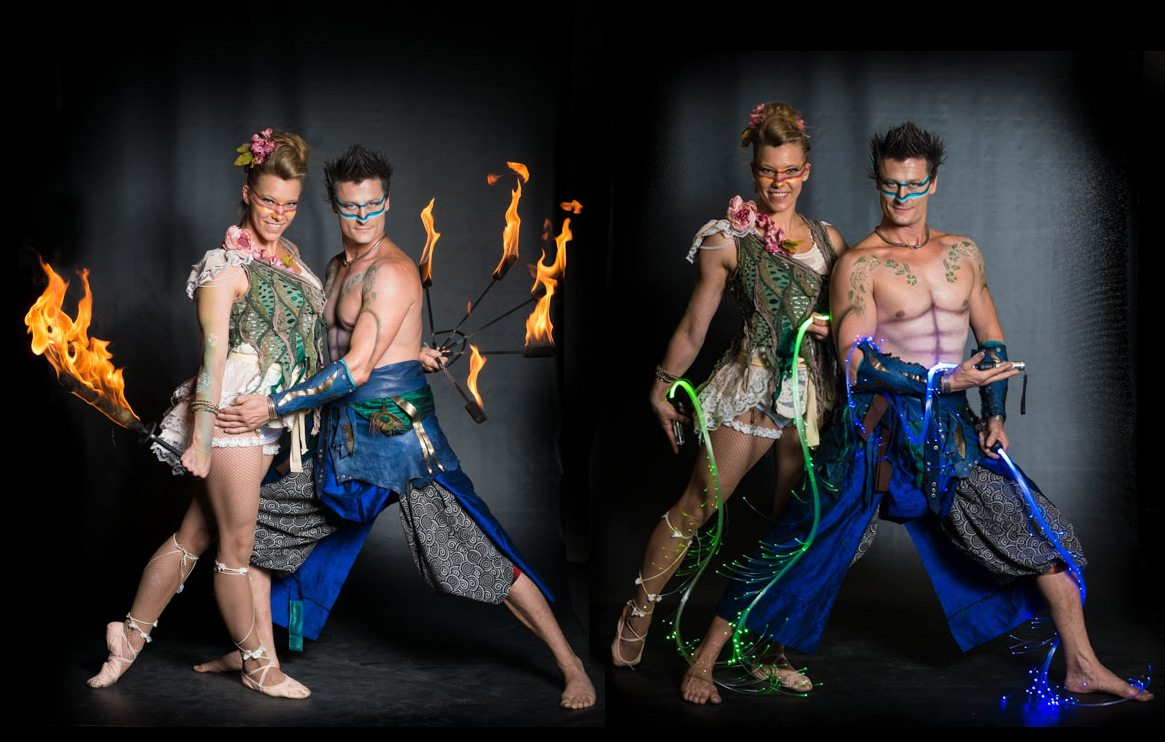 feuer show based in europe fire elves by spark fire dance